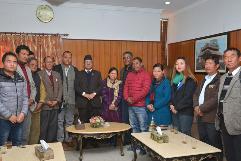 Indigenous community leaders representing NEFIN pose for a photograph with Prime Minister Pushpa Kamal Dahal, in Kathmandu, on Thursday, January 12, 2017. Photo: PM's Secretariat