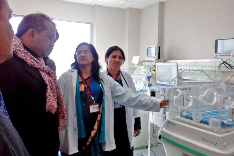 Minister for Health Gagan Kumar Thapa inspects the Intensive Care Unit of the Kanti Children's Hospital on the occasion of its 55th anniversary in Kathmandu, on Friday, January 6, 2016. Photo: RSS