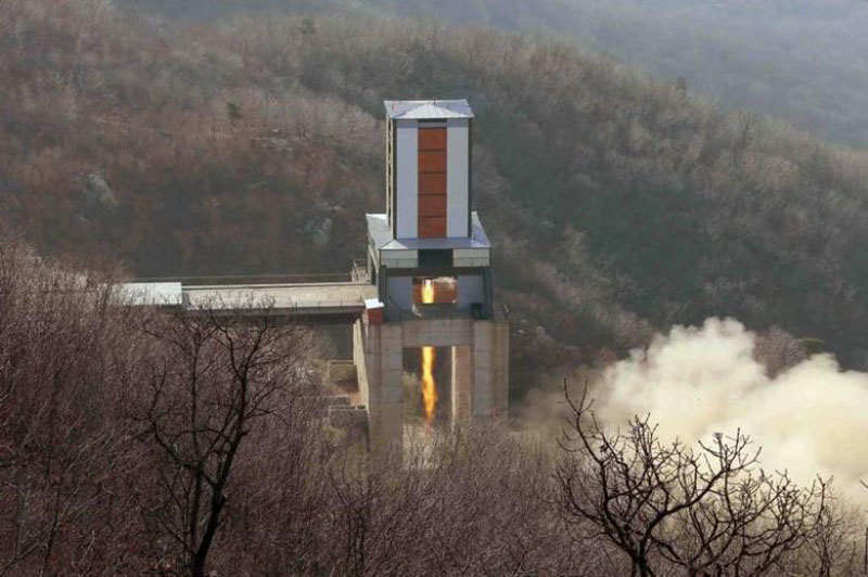 File - A new engine for an intercontinental ballistic missile (ICBM) is tested at a test site at Sohae Space Center in Cholsan County, North Pyongan province in North Korea. Photo: North Korea's Korean Central News Agency (KCNA) via AP