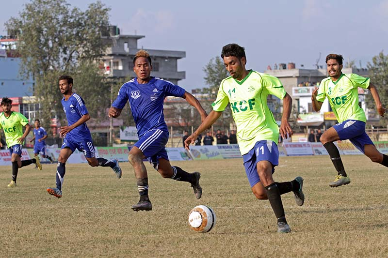 Players of Far-west (left) and Punjab-XI of India vie for the ball during their first International Invitational Far-west Khaptad Gold Cup match in Dhangadhi on Sunday, January 8, 2017. Photo: THT