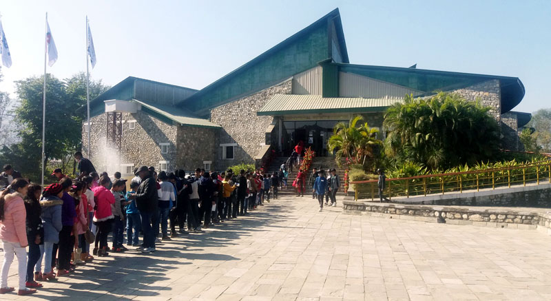 Students are seen in a queue waiting to enter the International Mountain Museum, operated by Nepal Mountaineering Association, in Ratopairaha, Pokhara of Kaski district on Monday, January 9, 2016. Photo: Rss