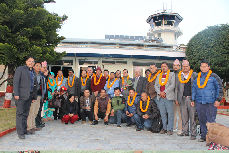 The International Press Council members pose for a photograph upon their arrival at the Pokhara airport, on Friday, January 13, 2017. Photo: Bharat Koirala
