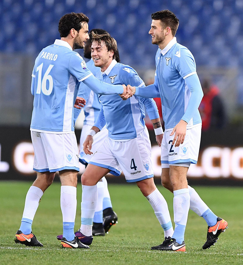 Lazio's Wesley Hoedt (right) celebrates with his teammates after scoring during the Italian Cup, Round of 16 soccer match between Lazio and Genoa at the Rome Olympic stadium, on Wednesday, January 18, 2017. Photo: Ettore Ferrari/ANSA via AP