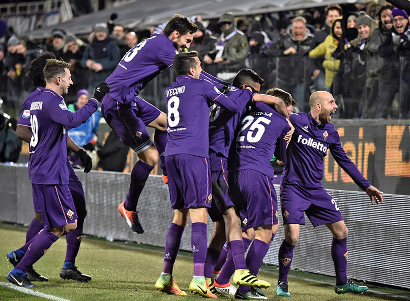Fiorentina' s Federico Chiesa (second from right) celebrates after scoring his side second goal during the serie A soccer match between Fiorentina and Juventus at the Artemio Franchi stadium in Florence, Italy, on Sunday, January 15,  2017. Photo: Maurizio Degli Innocenti/ANSA via AP