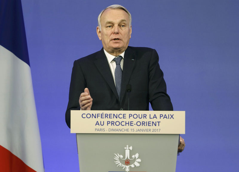 French Minister of Foreign Affairs Jean-Marc Ayrault addresses delegates at the opening of the Mideast peace conference in Paris, on January 15, 2017. Photo: Reuters