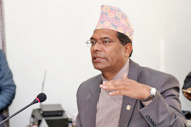 Minister for Culture, Tourism and Civil Aviation Jeeban Bahadur Shahi briefs the progress of under-construction international airports across Nepal to the Development Committee Meeting under the Legislature-Parliament, in Kathmandu, on Thursday, January 19, 2017. Photo: RSS