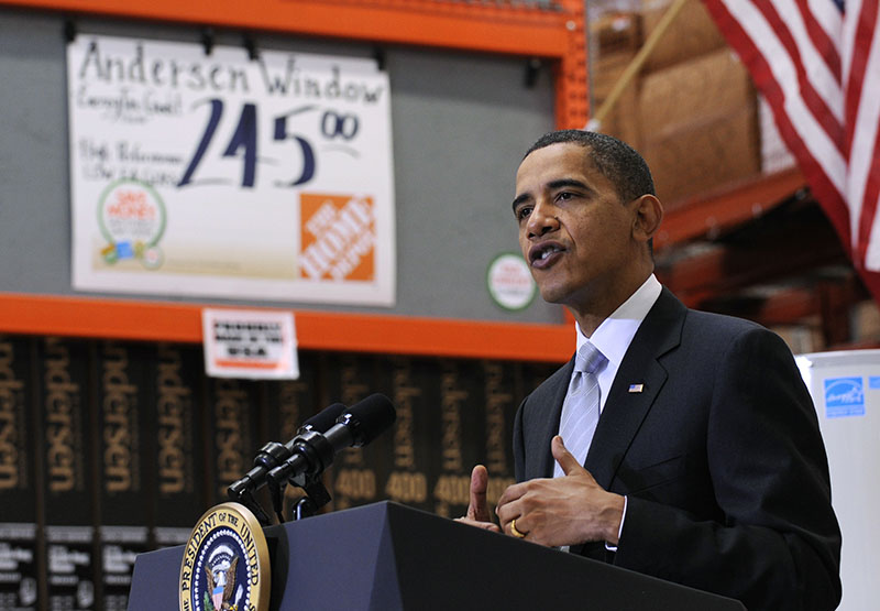 FILE - President Barack Obama speaks during a visit to Home Depot in Alexandria, Virginia. Obama came in amid horrendous recession, since then has had 75 months straight months of job growth.  The job market has changed in those 8 years.  Photo: AP