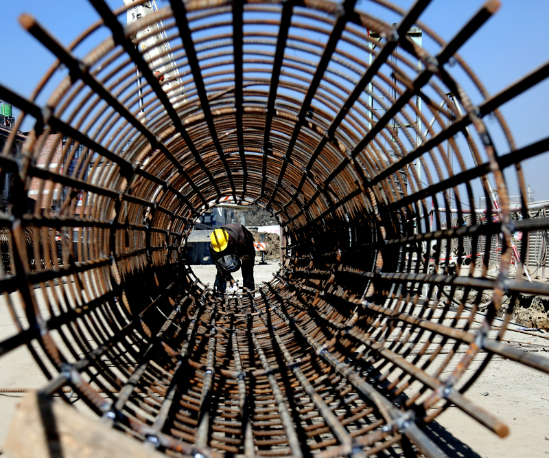 A labourer works for the construction of a subway at the Kalanki Chok in Kathmandu, on Wednesday, January 4, 2017. Photo: RSS