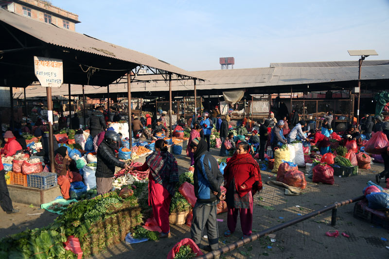 Customers are seen at the Kalimati Fruit and Vegatable Market in Kalimati, Kathmandu on Saturday, January 21, 2017. Photo: RSS