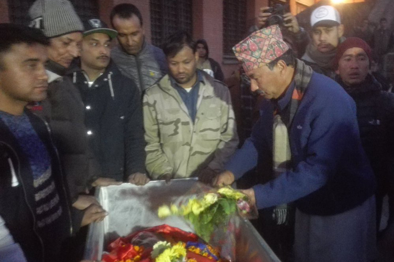 Rastriya Prajatantra Party Chairman Kamal Thapa pays final tribute on popular Nepali rapper Anil Adhikari aka Yama Buddha, in Kathmandu, on Saturday, January 28, 2017. Photo: Rajaram Bartaula/Twitter
