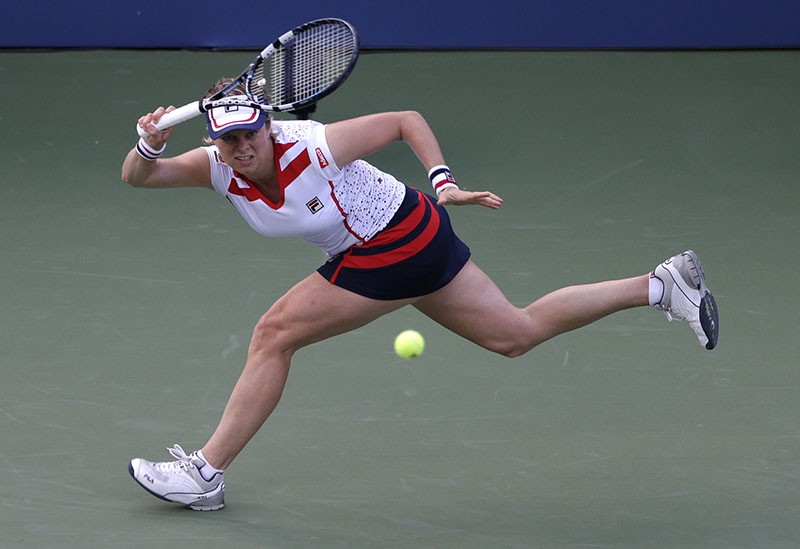 FILE - Kim Clijsters of Belgium returns a shot to Laura Robson of Great Britain in the second round of play at the 2012 US Open tennis tournament, in New York, on August 29, 2012. Photo: AP