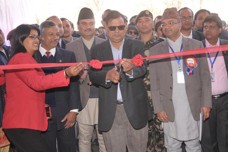 Deputy Prime Minister and Minister for Finance Krishna Bahadur Mahara inaugurates the SUBISU CAN Info Tech-2017 at Bhrikutimandap of Kathmandu, on Thursday, January 26, 2017. Photo: CAN Federation