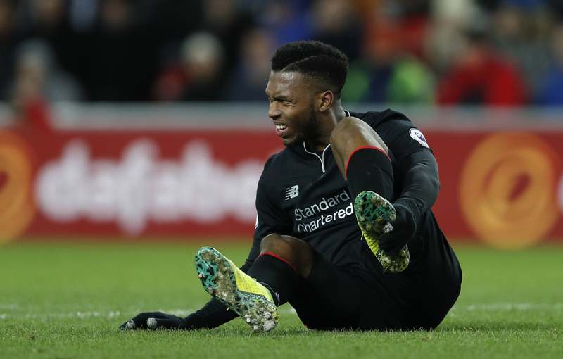 Liverpool's Daniel Sturridge is down after sustaining a injury. Photo: Reuters