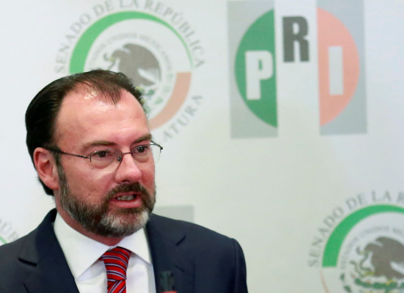 Mexico's Foreign Minister Luis Videgaray speaks about US President Donald Trump, during the Plenary Meeting of Senators of the Institutional Revolutionary Party (PRI), at the Senate of the Republic's building in Mexico City, Mexico, on January 30, 2017. Photo: Reuters