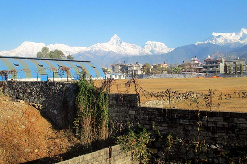 Machhapuchhre and Annapurna mountain ranges seen from Pokhara of Kaski district, on Thursday, January 5, 2017. Photo: Rishi Ram Baral/THT