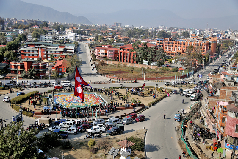 Nepal's national flag is hoisted at the Maitighar Mandala on the occasion of the Martyrs' Day in Kathmandu, on Sunday, January 29, 2017. Photo: RSS