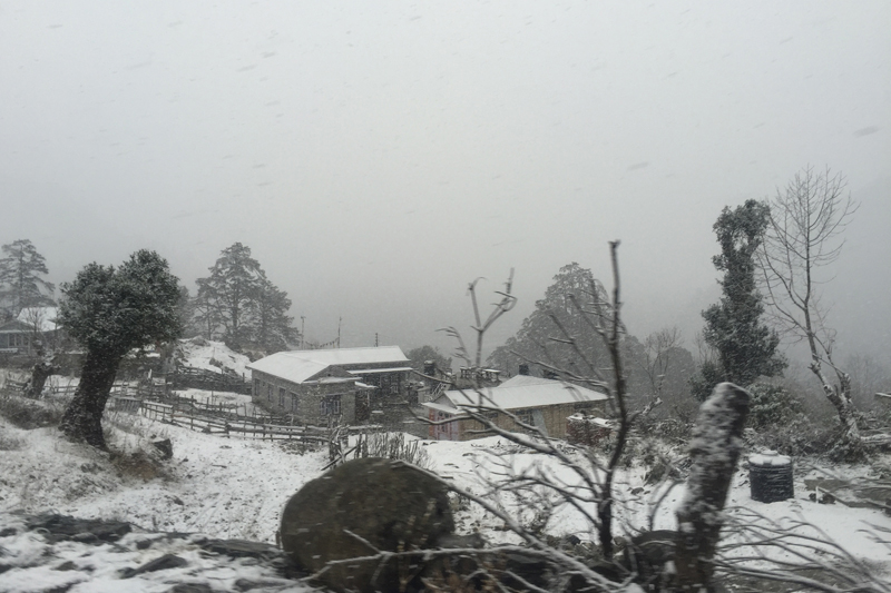 The Manang district in western Nepal witnesses a snowfall on Sunday, January 1, 2016. Photo: RSS