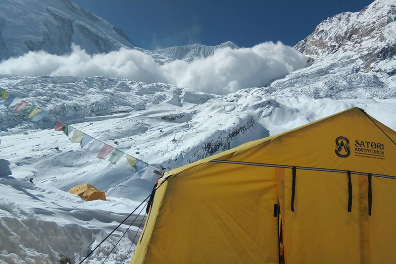 The Manaslu base camp set up by Revol Elisabeth Marie Bernadette and her team in January 2017. Photo: Giambiasi Ludovic Jean