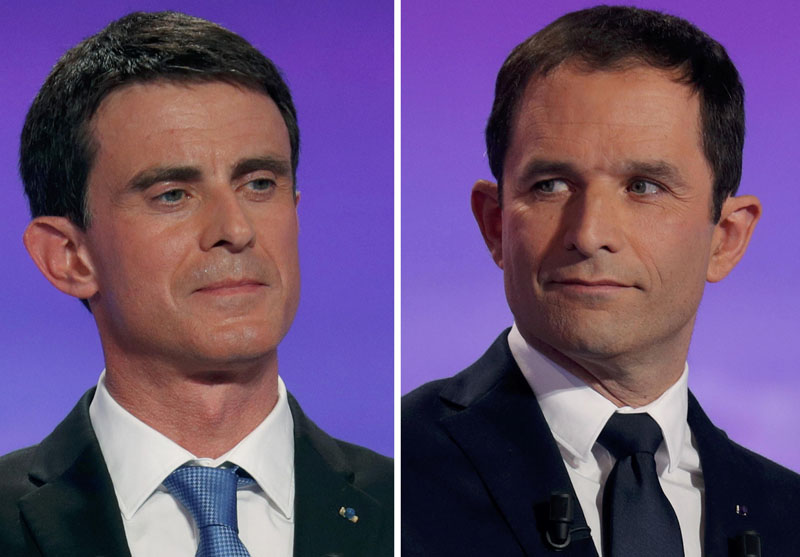 A combination picture shows French Socialist party politicians, former prime minister Manuel Valls (left) and former education minister Benoit Hamon, candidates in the second round for the French left's presidential primary election, as they attend the first prime-time televised debate in La Plaine Saint-Denis, near Paris, France, on January 12, 2017. Photo: Reuters