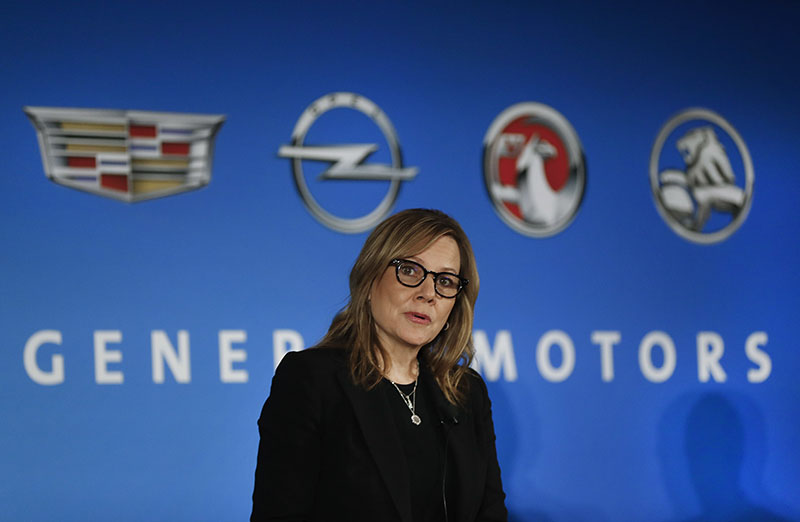 FILE- General Motors Chairman and CEO Mary Barra speaks about the financial outlook of the automaker in Detroit, on January 10, 2017. Photo: AP