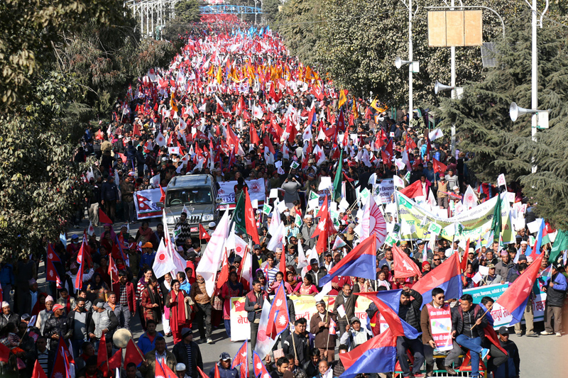 Cadres affiliated to nine opposition political parties participate in a mass demonstration organised to protest the Constitution amendment bill registered in the Parliament, in Kathmandu, on Friday, January 6, 2016. Photo: RSS