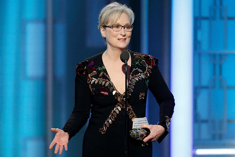 Actress Meryl Streep accepts the Cecil B DeMille Award during the 74th Annual Golden Globe Awards show in Beverly Hills, California, on January 8, 2017. Photo: NBC via Reuters