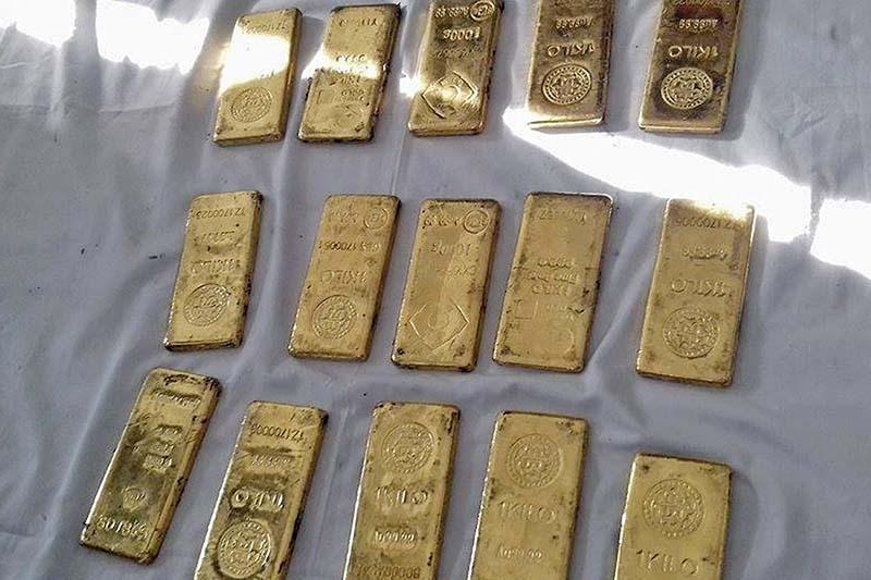FILE: The Metropolitan Police Range in Teku makes public the gold bars it seized from Kathmandu, on Saturday, January 14, 2017. Photo: RSS