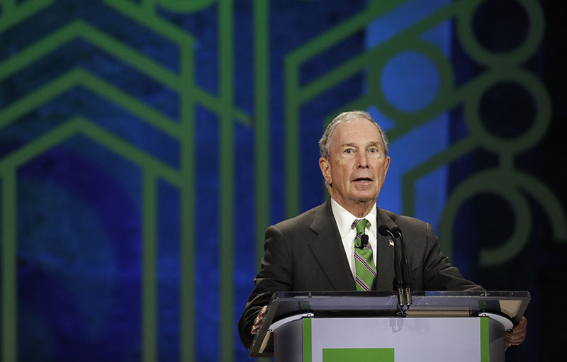 FILE - Former New York City Mayor Michael Bloomberg announces award nominees during the C40 Cities Award presentation in Mexico City, on Thursday, December 1, 2016. Photo: AP
