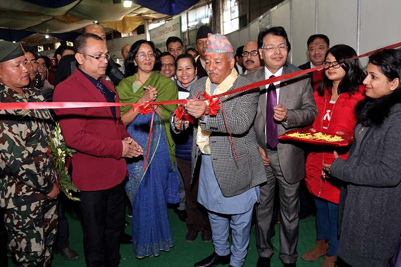 Minister for Supplies Deepak Bohora inaugurates the Third Bangladesh Expo 2017 at Bhrikutimandap, on Tuesday, 17 January 2017. The Expo is a five-day affair. Photo: RSS