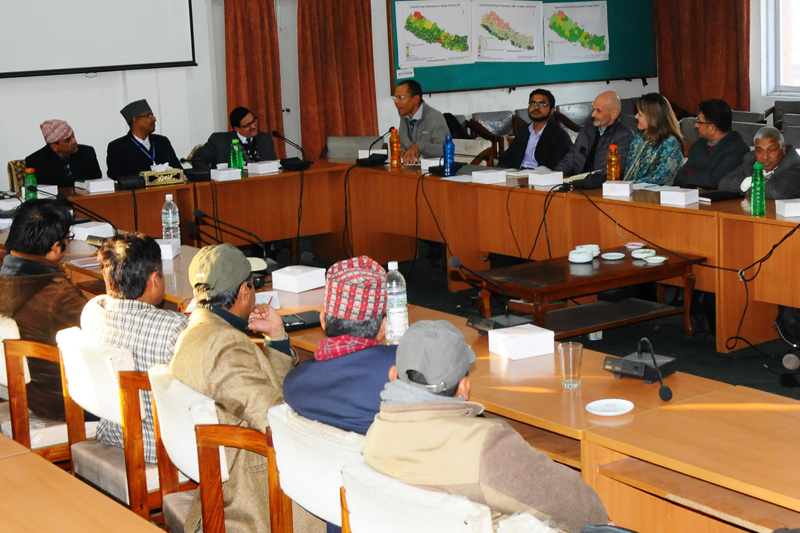 Officials of the Ministry of Agricultural Development hold a meeting with a World Bank team in Kathmandu, on Tuesday, January 17, 2017. Photo: PACT