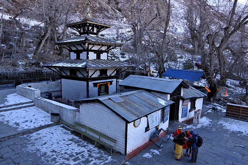 The Muktinath Temple in Mustang district, as pictured on Sunday, 15 January 2017. Muktinath is a famous destination among both Hindu and Buddhist devotees, situated 3,800 metres above the sea level. Photo: RSS