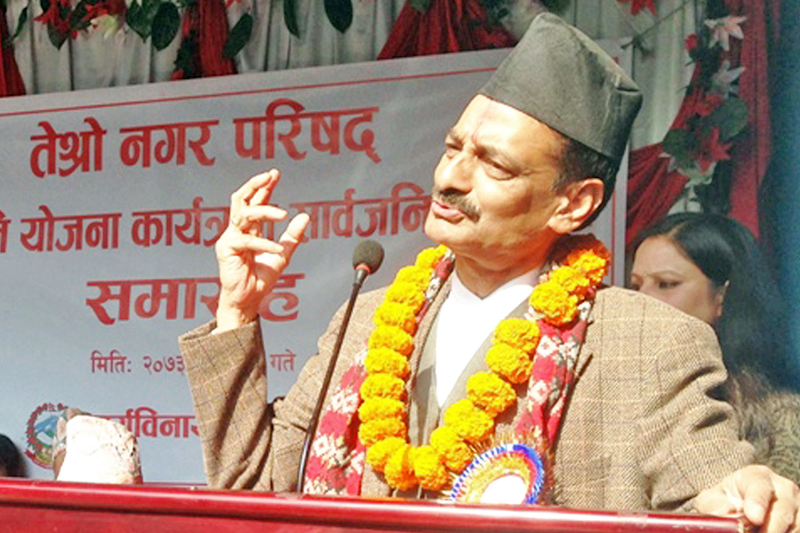 Minister for Industry Nabindraraj Joshi addresses a programme in Bhaktapur on Thursday, January 12, 2017. Photo: RSS