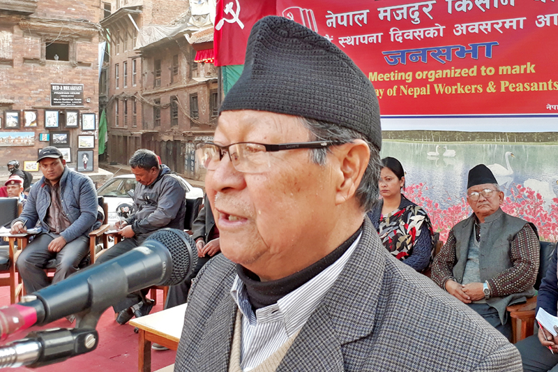 Nepal Workers and Peasants' Party Chairman Narayan Man Bijukchhe speaks at a programme organised on the occasion of party's 43rd anniversary in Bhaktapur on Monday, January 23, 2017. Photo: RSS