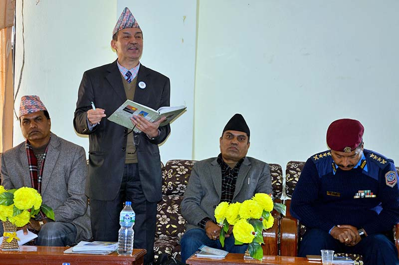 National Information Commission (NIC) Chief Krishna Hari Baskota addresses an orientation programme organised to brief the people about right to information (RTI) in Baglung, on Monday, January 9, 2017. Photo: RSS