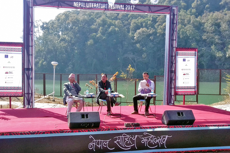 Litterateurs Bairagi Kaila and Bhupal Rai discuss the Mundhum literature during the Nepal Literature Festival organised by the Bookworm Foundation and the Random Readers Society in Pokhara, on Sunday, January 29, 2017. Photo: RSS