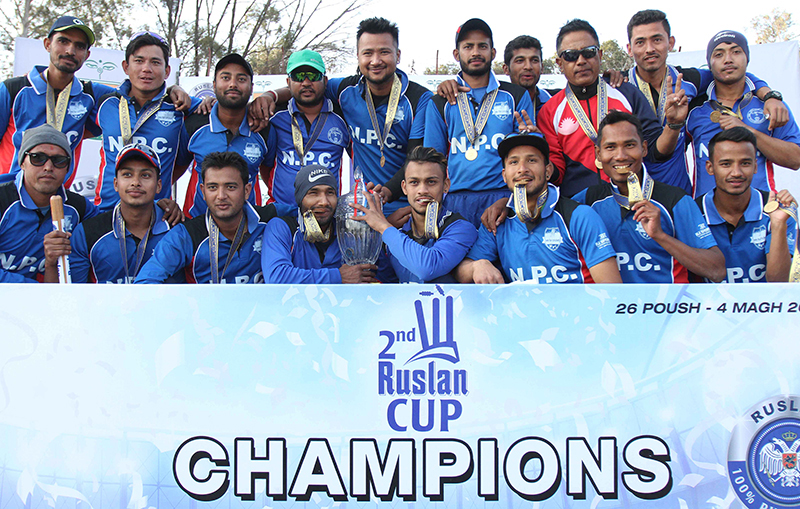Nepal Police Club players and officials celebrate after winning the second Ruslan Cup Twenty20 Cricket Tournament at the TU Stadium in Kathmandu on Tuesday, January 17, 2017. Photo: Udipt Singh Chhetry/THT