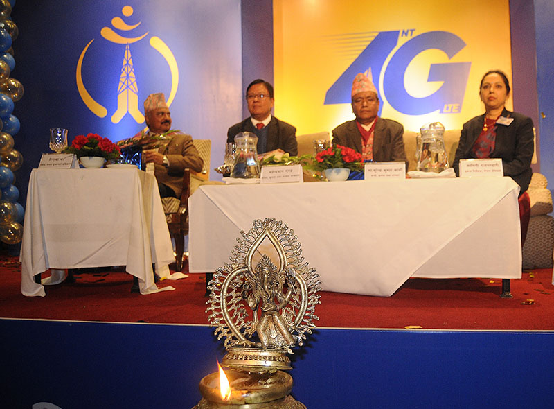 Minister for Information and Communications Surendra Kumar Karki (second from right) at the launch of Nepal Telecomu2019s 4G service, in Kathmandu, on Sunday. Photo: Balkrishna Thapa Chhetri/THT