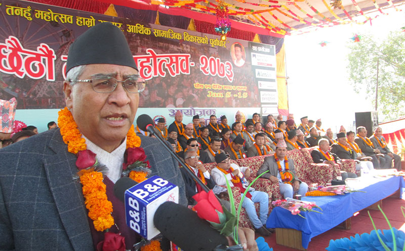 Nepali Congress President Sher Bahadur Deuba speaking at the 6th Damauli Festival inauguration programme in Damauli, Tanahun, on Thursday, January 5, 2017. Photo: THT
