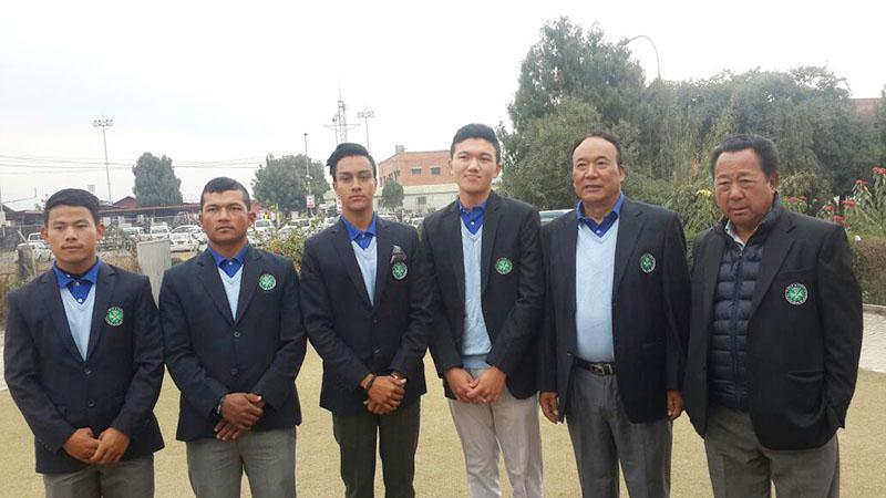 File - Nepal golf team memebers Sukra Bahadur Rai (left) and Tanka Bahadur Karki and others. Photo: THT