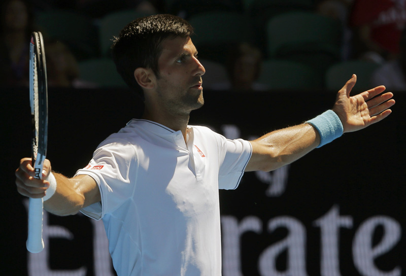Serbia's Novak Djokovic reacts during his Men's singles second round match against Uzbekistan's Denis Istomin. Photo: Reuters