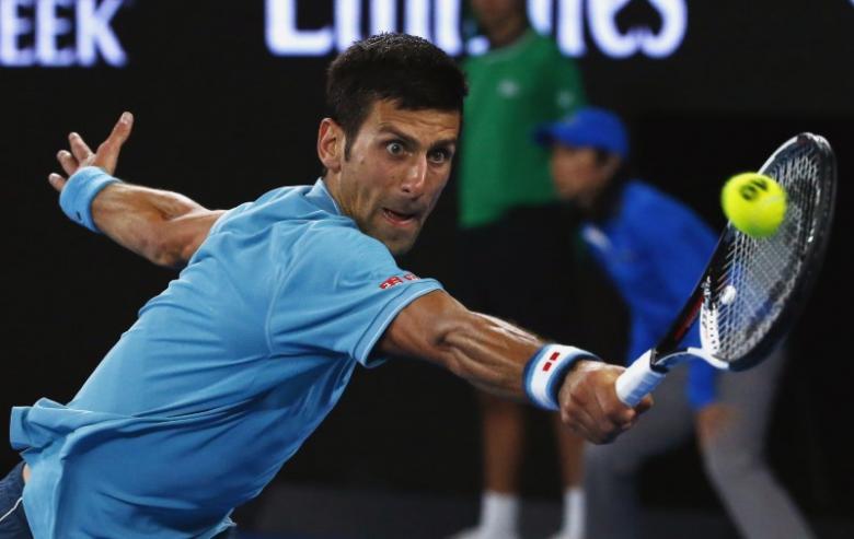 Tennis - Australian Open - Melbourne Park, Melbourne, Australia - 17/1/17 Serbia's Novak Djokovic hits a shot during his Men's singles first round match against Spain's Fernando Verdasco. REUTERS/Edgar Su