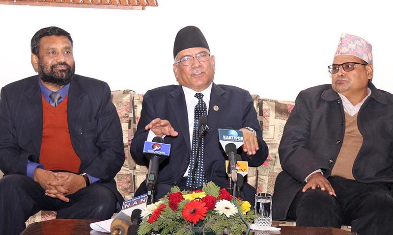 Prime Minister Pushpa Kamal Dahal talks to media at the Tribhuvan International Airport. Photo: RSS