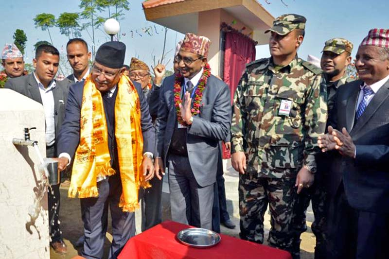 Prime Minister Pushpa Kamal Dahal inaugurates the Meghauli Drinking Water Project at Golaghat of Chitwan district on Tuesday, January 10, 2017. Photo Courtesy: PM's Secretariat