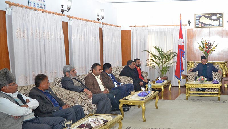Leaders of Nepali Congress, CPN-Maoist and Madhesi parties with the PM
