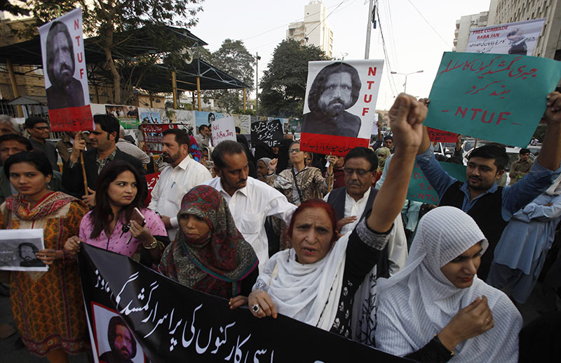 Activists of Pakistan civil society rally to condemn the missing of human rights activist Salman Haider, in Karachi, Pakistan, on Monday, January 9, 2017. Photo: AP