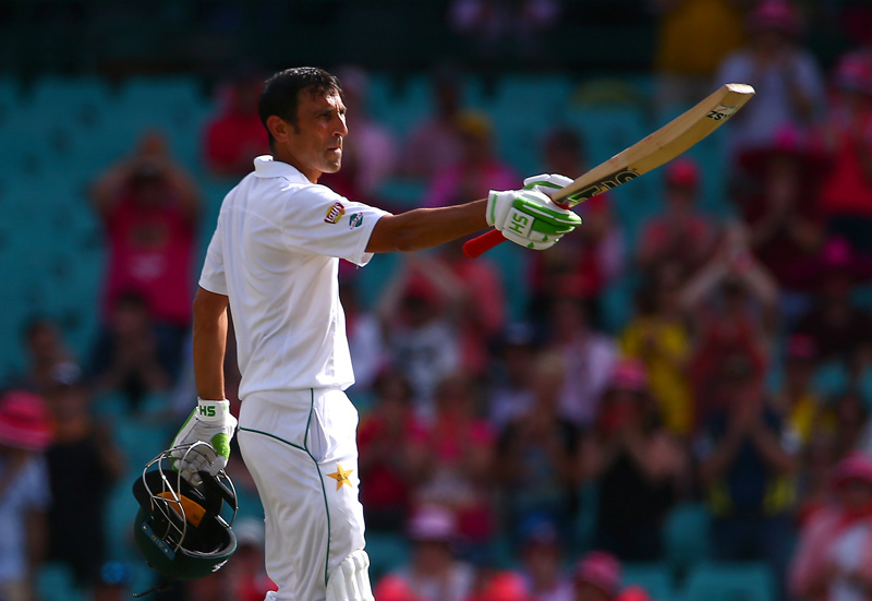 Pakistan's Younis Khan celebrates after reaching his century. Photo: Reuters