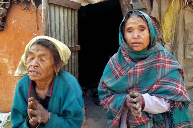 Elderly women, suffering from hearing impairment, plead for warm clothes to cope with the chilly weather, in Beni Municipality of Myagdi district, on Thursday, January 12, 2017. Photo: RSS