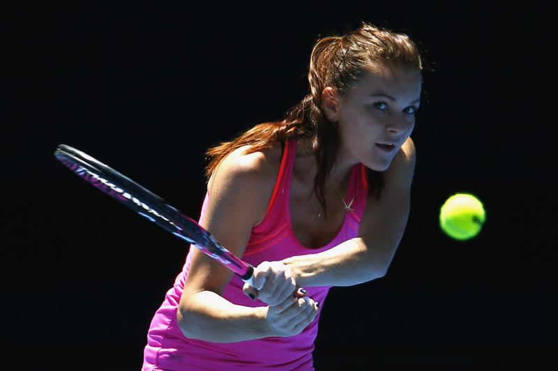 Poland's Agnieszka Radwanska hits a shot during a training session ahead of the Australian Open tennis tournament in Melbourne, Australia, January 15, 2017. Photo: Reuters