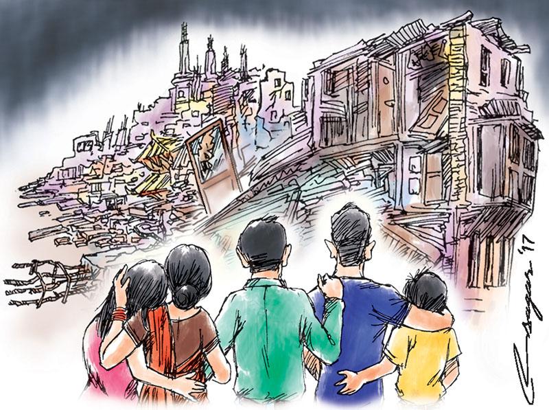 Post-quake reconstruction. Illustration: Ratna Sagar Shrestha/THT