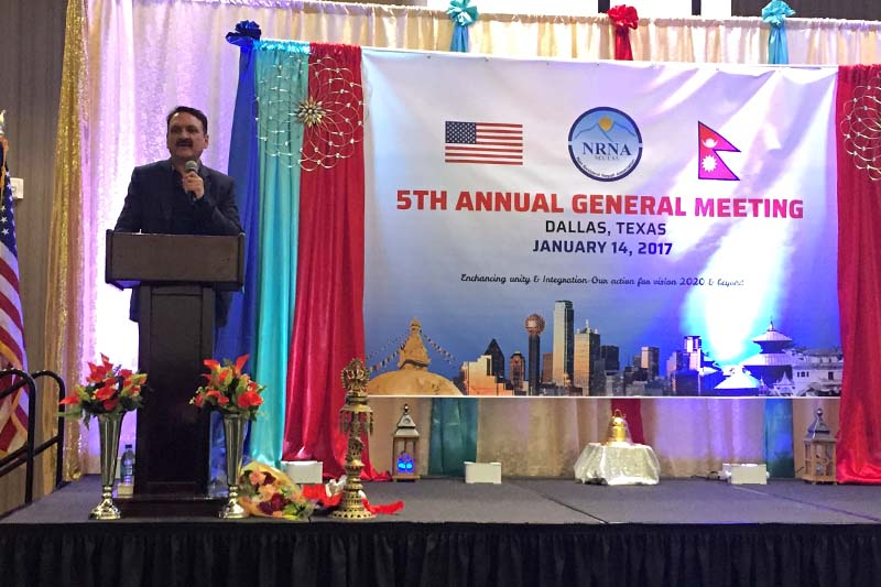 Minister for Foreign Affairs Prakash Sharan Mahat addresses the Fifth General Assembly of Non-Resident Nepalese Association in Dallas, US on Saturday, 14 January 2017. Photo Courtesy: NRNA